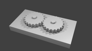Two identical gears on a block, with axles added