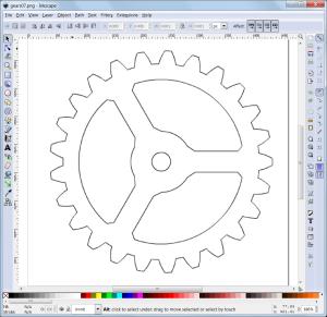 Gear snip in Inkscape