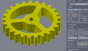Extruded gear, still as curve