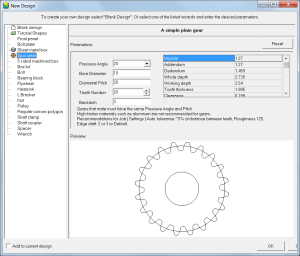 Spur gear with default settings