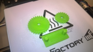Printed set of gears still on the table
