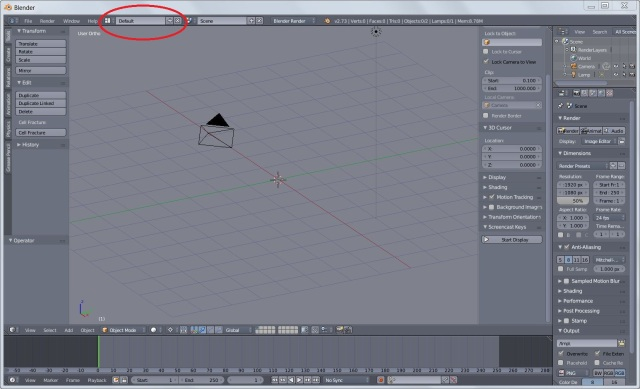 Blender's basic layout with screen layout selector